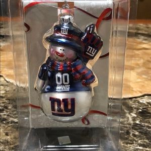 Blown Glass New York Giants snowman ornament